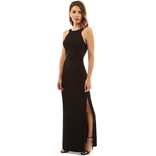790af8ae85 PattyBoutik Women's Crewneck Halter Side Slit Maxi Dress
