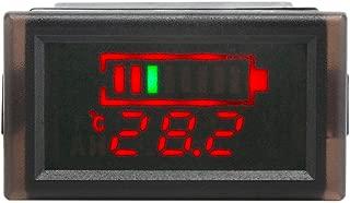 DROK Waterproof LED Digital Battery Volt Meter DC 12V 24V 36V 48V 60V 64V 72V Acid Lead Lithium Polymer Battery Capacity Indicator Thermometer Voltage Temperature Guage Monitor for Electromobile