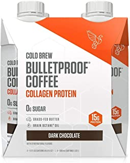 Bulletproof Dark Chocolate Cold Brew Coffee Plus Collagen Protein Peptides, Keto Diet Friendly, Sugar Free, non-GMO, organic, with Brain Octane oil and Grass-fed Butter (Dark Chocolate) (4-Pack)