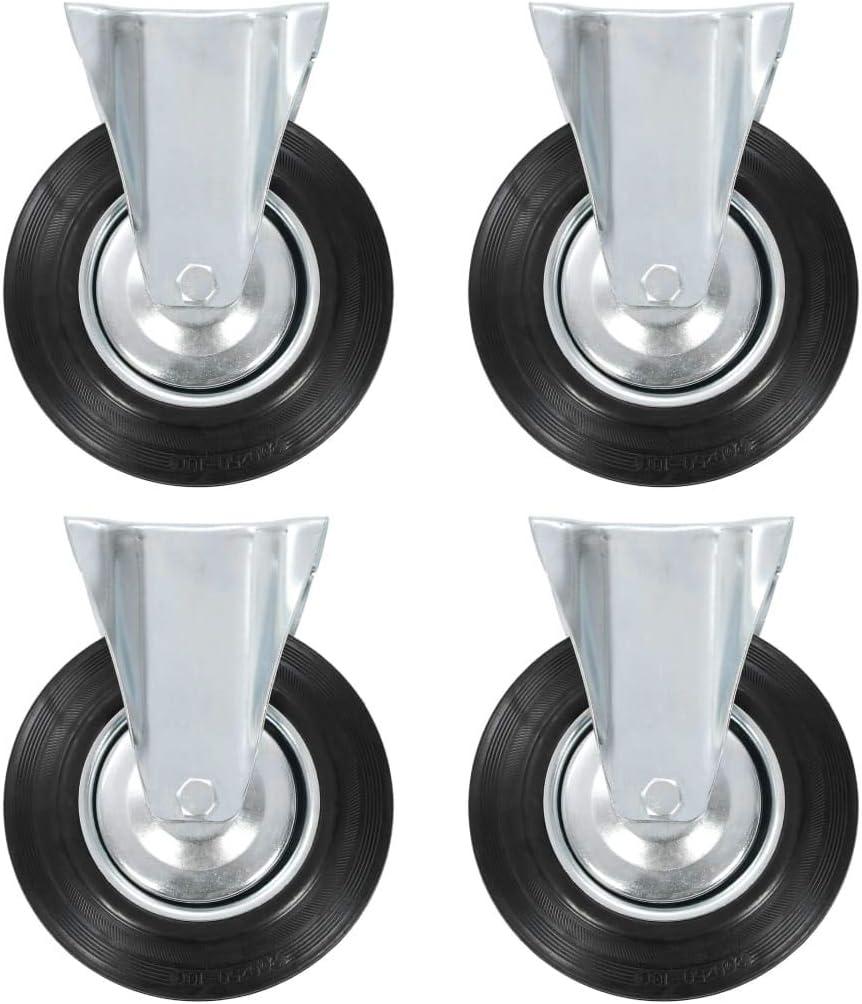 vidaXL 8x Rotelle con Supporto Fisso Robuste con Piastra Ruote Trasporto per Mobili Ricambi per Carrelli 200 mm in Gomma TPR e Ferro Zincato Nero