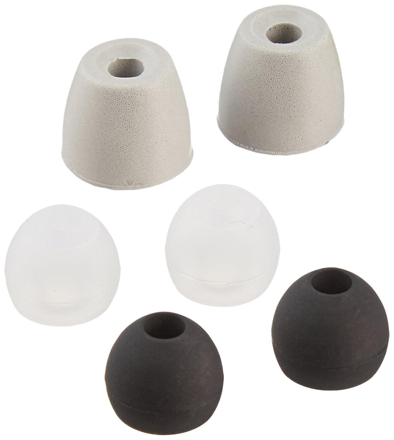Earphones Plus brand 135-B-6BLK-6CLR-S Replacement earphone cushions, replacement earbud tips, 12 pairs size small + 1 bonus memory foam pair, black and clear