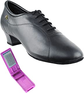 Shoe Wire Brush Heel 1 Very Fine Mens Salsa Ballroom Tango Dance Shoes CD9003B Black Patent Bundle