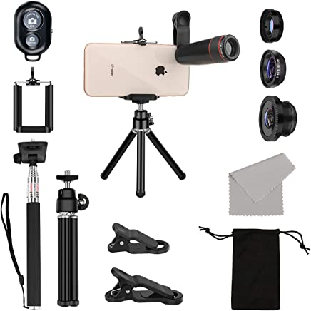 AFAITH 10 in 1 Phone Camera Lens Kit, 8X Zoom Telephoto Lens + Wide Angle + Macro & Fisheye Lens+ Phone Holder Tripod + Selfie Stick with Wireless Remote for iPhone X/XS/8/7/6 and Other Smartphone