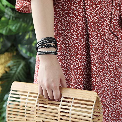 FANCY SHINY Leather Wrap Bracelet Boho Cuff Bracelets Crystal Bead Bracelet with Magnetic Clasp Jewelry Gifts for Women Teen Girls