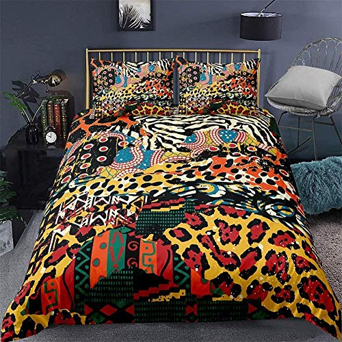MEIPINPAI 3D Print Leopard Bedding Linen Set Animal Pattern Bedding Set Sexy Style Microfiber Duvet Cover Set Pillowcase Single Double King Size Bedclothe-Anime_GB-King230cm×220cm