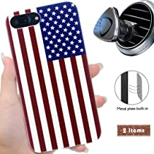 iProductsUS Wood Phone Case Compatible with iPhone 8Plus, 7Plus, 6Plus, 6s Plus and Magnetic Mount, American Flag Printed in USA,Built-in Metal Plate,TPU Rubber Protective White Cover (5.5