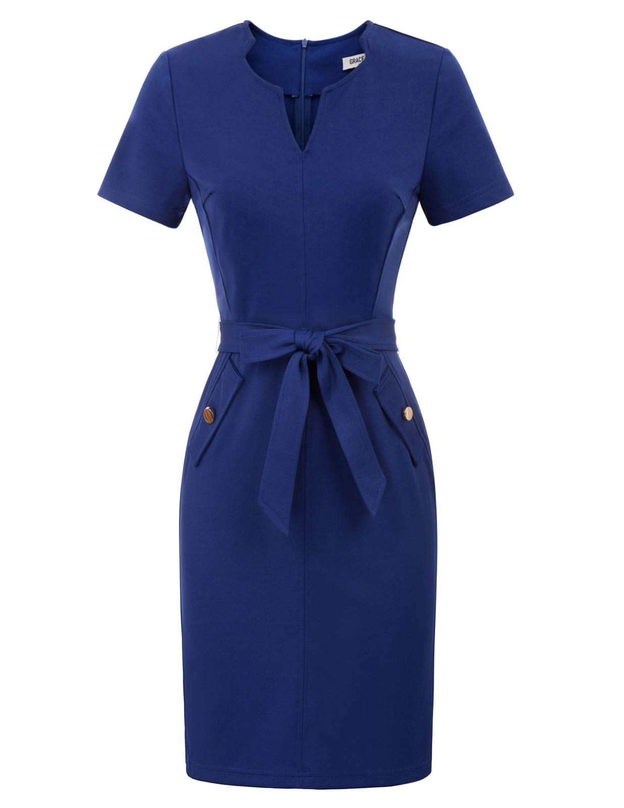 Available at Amazon: GRACE KARIN Women's Retro Slim Short Sleeve Business Pencil Dress with Belt