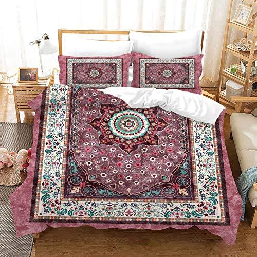 QXbecky 3D Persian Retro Ethnic StyleSoft Microfiber Bedding Quilt Cover Pillowcase 3 Piece Set Double