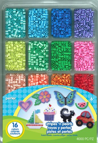 Perler Beads Stripes And Pearls Beads For Kids, 4,000 pcs