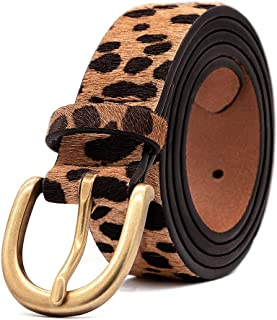 Womens Leopard Print Leather Belt for Jeans Belt with Alloy Buckle by LOKLIK