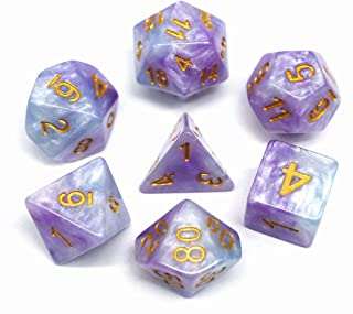 HD Polyhedral DND Dice Set RPG Dice Fit Dungeons and Dragons Pathfinder (Purple-Blue)