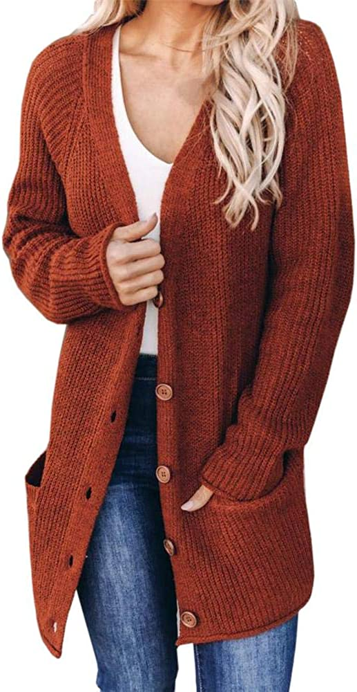 Aoysky Women's Long Sleeve Cable Knit Cardigans Button Down Open Front Chunky Sweater Cardigans