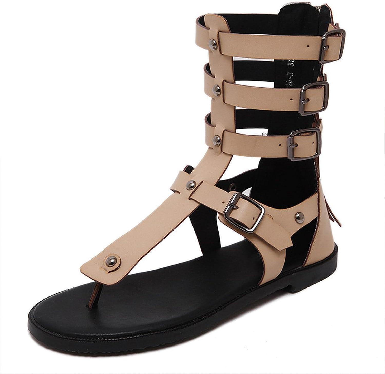 Kyle Walsh Pa Women T-Strap Tall Side Buckle Gladiator Back Zip Flat Sandal