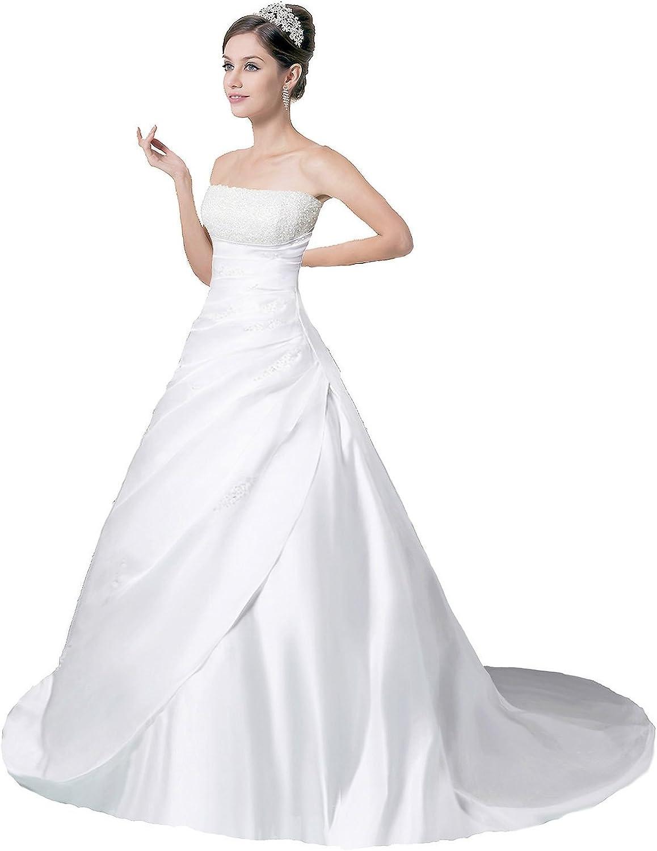 Edaier Women's Strapless Satin Crystals Wedding Dress Bride Gown