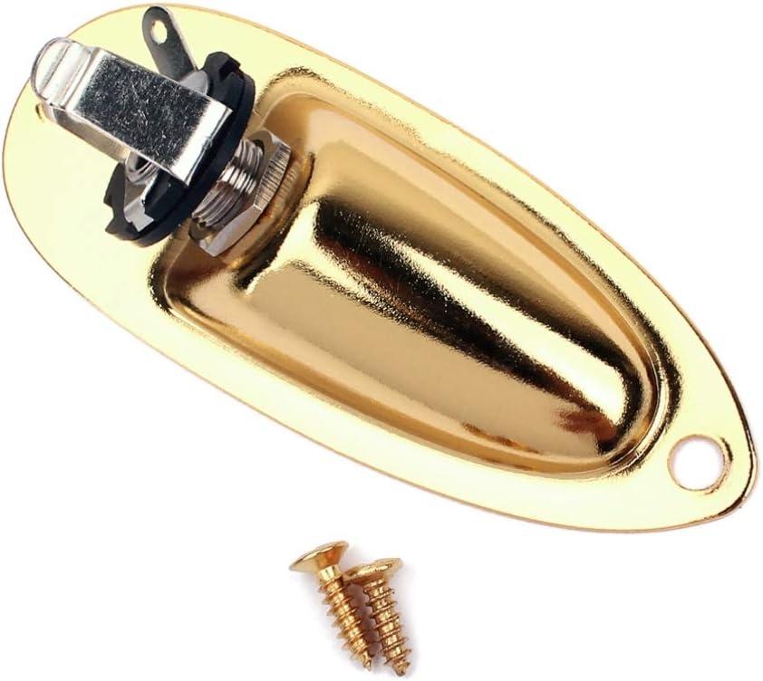 Generic Enchufe de guitarra para barco, salida de entrada con placa de Jack tornillos de montaje para guitarra eléctrica Strat Bass 1/4
