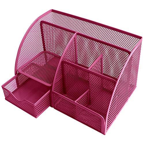 Flashbee - Organizer da scrivania in metallo, 6 scomparti, multifunzione, da tavolo, portapenne, accessorio da scrivania, colore: rosa