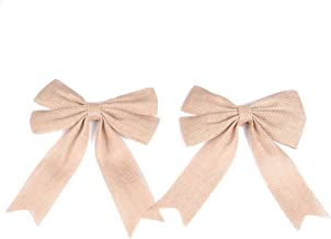 PIXNOR 2Pcs Wedding Bows Decoration Jute Burlap Bows Christmas Bows (Flaxen)