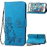 Qiaogle Teléfono Case - Funda de PU Cuero Billetera Clamshell Carcasa Cover para Samsung Galaxy S3 / S3 Neo i9300 (4.8 Pulgadas) - SD03 / Azul Lucky Clover