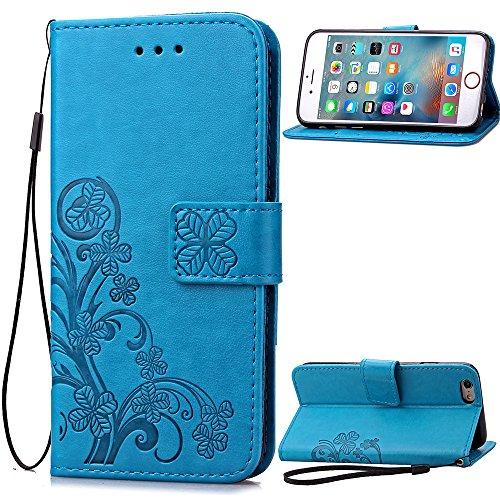 Qiaogle Teléfono Case - Funda de PU Cuero Billetera Clamshell Carcasa Cover para Samsung Galaxy S6 Edge+ / S6 Edge Plus - SD03 / Azul Lucky Clover