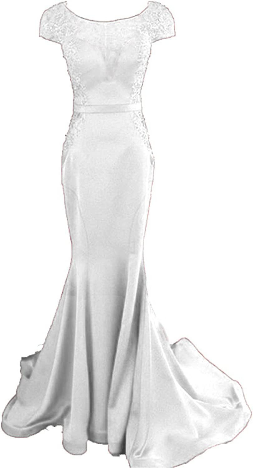 Little Star Women's Long Satin Prom Dresses Mermaid Evening Gown Sheer Neck Party Dresses Ball Gown with Beads