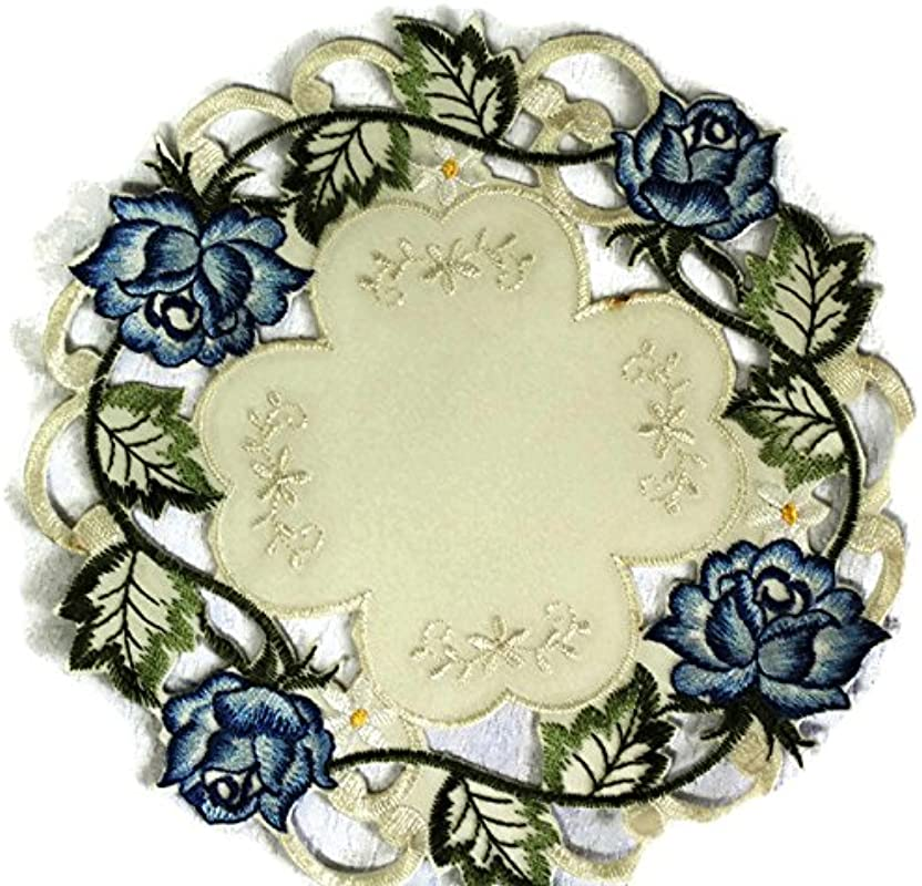 Doily Boutique Round Doily With A Blue Rose On Ivory Fabric Size 7 Inches
