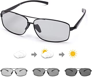 TosGad - Gafas De Sol Hombre Fotocromáticas Polarizadas Con Al-Mg Marco Metal Anti Rayos UVA UVB Para Conducir Deporte Al Aire Libre