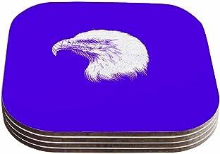 """قواعد أكواب بتصميم بارماليسي آر تي بي """"بلايند آند سايلنت باللونين الأبيض والأرجواني (مجموعة من 4 قطع)، مقاس 10.16 سم × 10...."""
