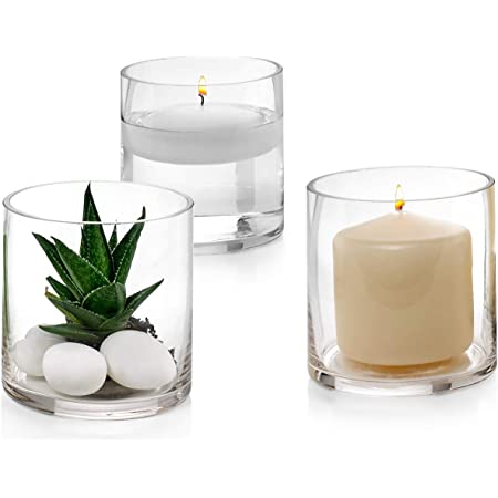 Set of 3 Glass Cylinder Vases 4 Inch Tall - Multi-use: Pillar Candle, Floating Candles Holders or Flower Vase – Perfect as a Wedding Centerpieces.