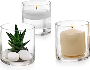 Set of 3 Glass Cylinder Vases 4 Inch Tall - Multi-use: Pillar Candle, Floating Candles Holders or Flower Vase – Perfect as a