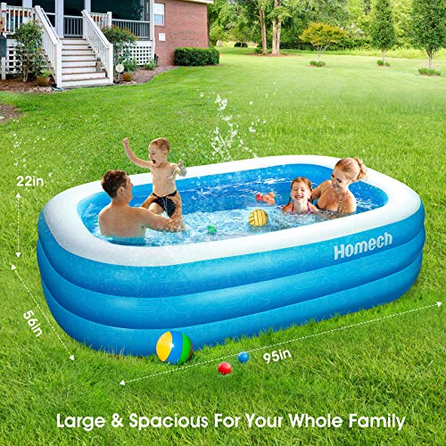 Inflatable Swimming Pool, Homech Inflatable Kiddie Pool, Full-Sized Family Lounge Pool, Family Swimming Pool Above Ground for Baby, Kids, Adults, Toddlers for Ages 3+, Outdoor, Garden, Backyard