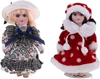 2pcs 8inch Vintage Porcelain Gifrl Doll in Dress with Stand, Creative Birthday  Girlfriend, Dollhouse People Display Decor Collection