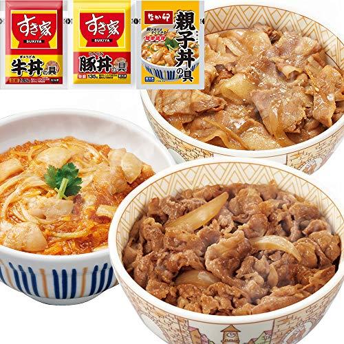お試しセット 牛×豚×親子(すき家 牛丼の具 135g×5パック、豚丼の具135g×5パック、なか卯 親子丼の具145g×5パック)冷凍食品