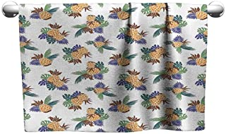 DUCKIL Cotton Craft Hand Towels Pineapple Decor Collection Colorful Pineapple with Leaves Pattern Hawaii Rainforest Tropics Holidays Art Print Bath Towel 20 x 20 inch Green Orange Cobalt