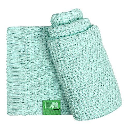 LULANDO Bambusdecke 80x100 cm, kleine Bettdecke, Zudecke für Kinderwagen, für jede Jahreszeit, 100 % naturreine Materialien, aus Baumwolle und Bambus, antiallergisch, umweltfreundlich(Mint)