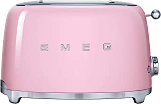 Smeg TSF01PKUK, 50's Retro Style 2 Slice Toaster,6 Browning Levels,2 Extra Wide Bread Slots, Defrost and Reheat Functions,...