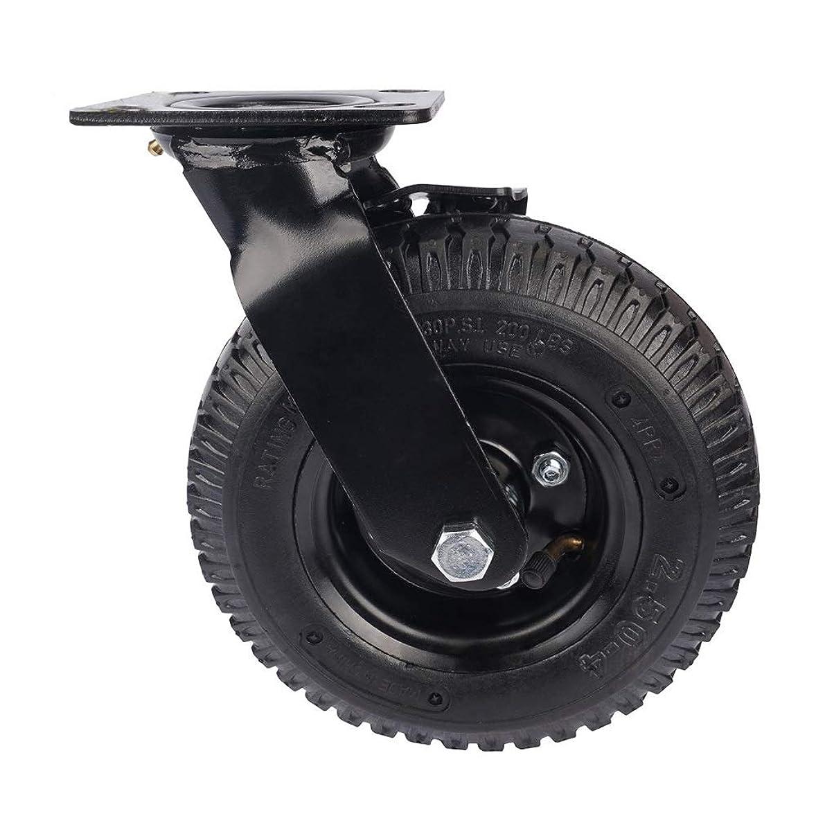 エスカレート太鼓腹軸4パックヘビーデューティ212ミリメートルゴム膨らませスイベル車輪ブレーキなし騒音産業トロリーホイール キャスター (Color : Black, Size : 8in)