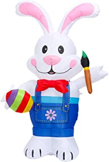 Firlar 6FT Lighted Easter Inflatable Bunny Holding Paintbrush and Egg Outdoor Indoor Easter Holiday Decorations, Yard Lawn...