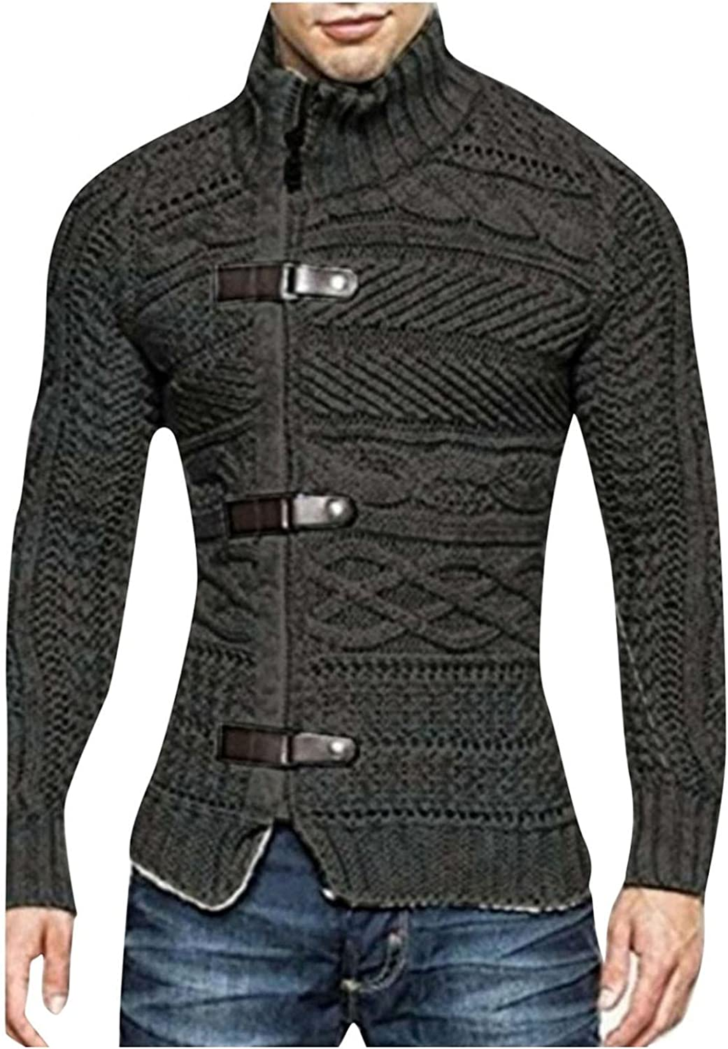 Men's Turtleneck Sweaters Cable Knitted Sweatshirts Pullover Thicken Thermal Button Down Tops Basic Designed Blouse