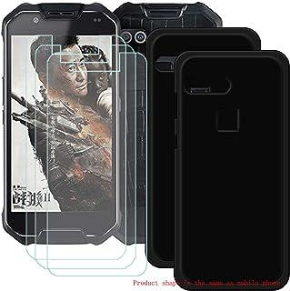 YZKJ [2 stycken skal för AGM X2 Cover svart mjuk silikon skyddshölje TPU skal Case + 3 x pansarglas displayskyddsfolie för...
