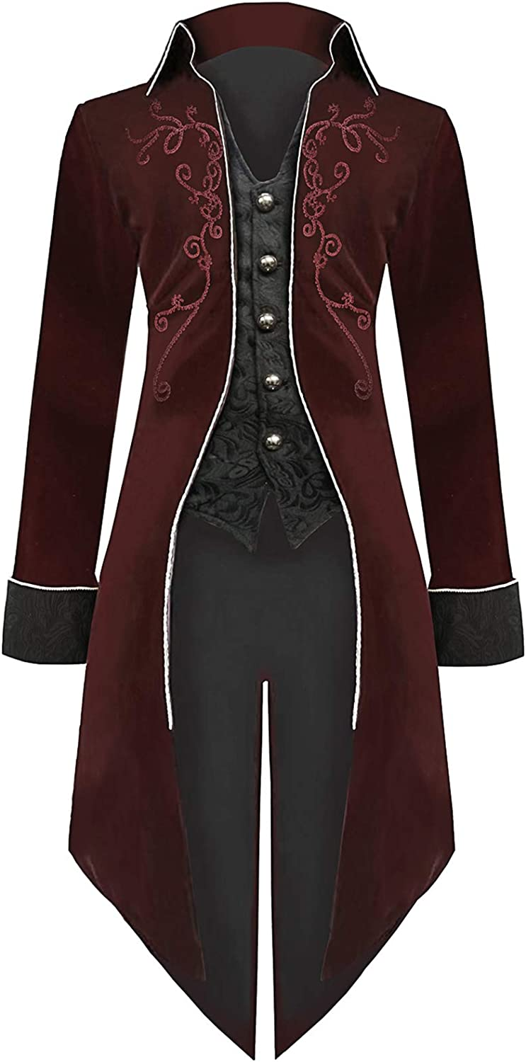 Rapid rise Mens Steampunk Tailcoat Halloween Costumes Embroidered Baltimore Mall V Velvet
