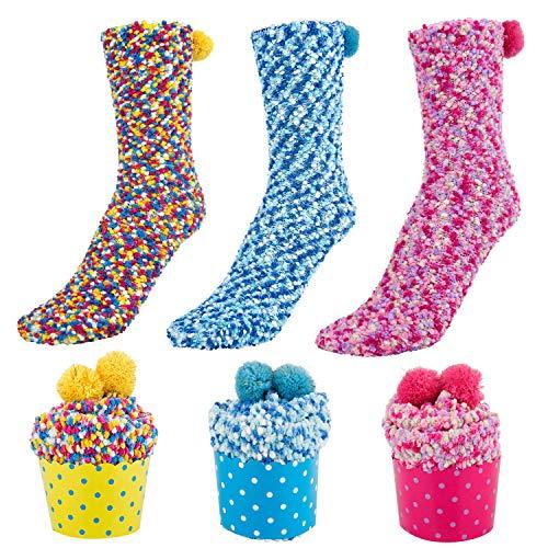 Comius Sharp Geschenk Box Kuschelsocken, 3 Paare Damen Mädchen Socken Cupcakes Design Flauschig Gemütliche Weiche Dicke Warme Weihnachtssocken mit Geschenkbox