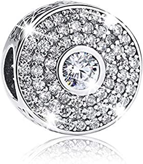 EverReena Charm Blue Clear Elegant CZ Stone Murano Glass Silver Beads Bracelets