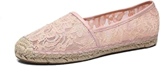 BalaMasa Womens Embroidered Lace Casual Urethane Pumps Shoes APL10874