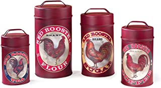 Red Rooster Canisters | Primitive Style Farmhouse Home Kitchen Decor Tins | Set of 4 | 10.5 x 5.5 Inch