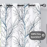 """Fmfunctex Blue White Blackout Curtains for Bedroom 84' Grey Tree Print Thermal Window Curtains with White Curtain Liner Branch Curtain Set for Living Room,50"""" x 1 Panel Grommet Top"""