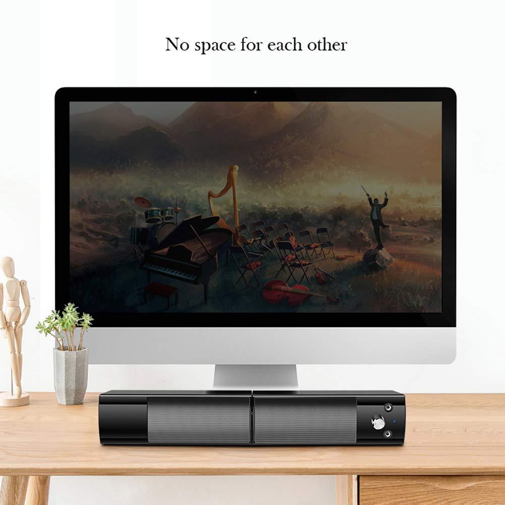 LAHappy Mini Barra De Sonido 2.0 Canales para TV/PC, Mini Soundbar Portátil Inalámbrico, Altavoces Bluetooth 5.0 Barra De Sonido PC,Soporte Conexiones De Ópticos/USB/AUX: Amazon.es: Hogar