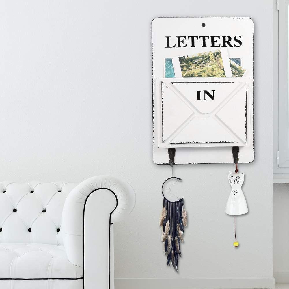 bo/îte /à lettres en fer en bois vintage porte-cl/és porte-cl/és stockage mural d/écoration de la maison cr/éative avec crochet 7,1 Porte-revues mural 1,7 10,2 pouces(Rouge)