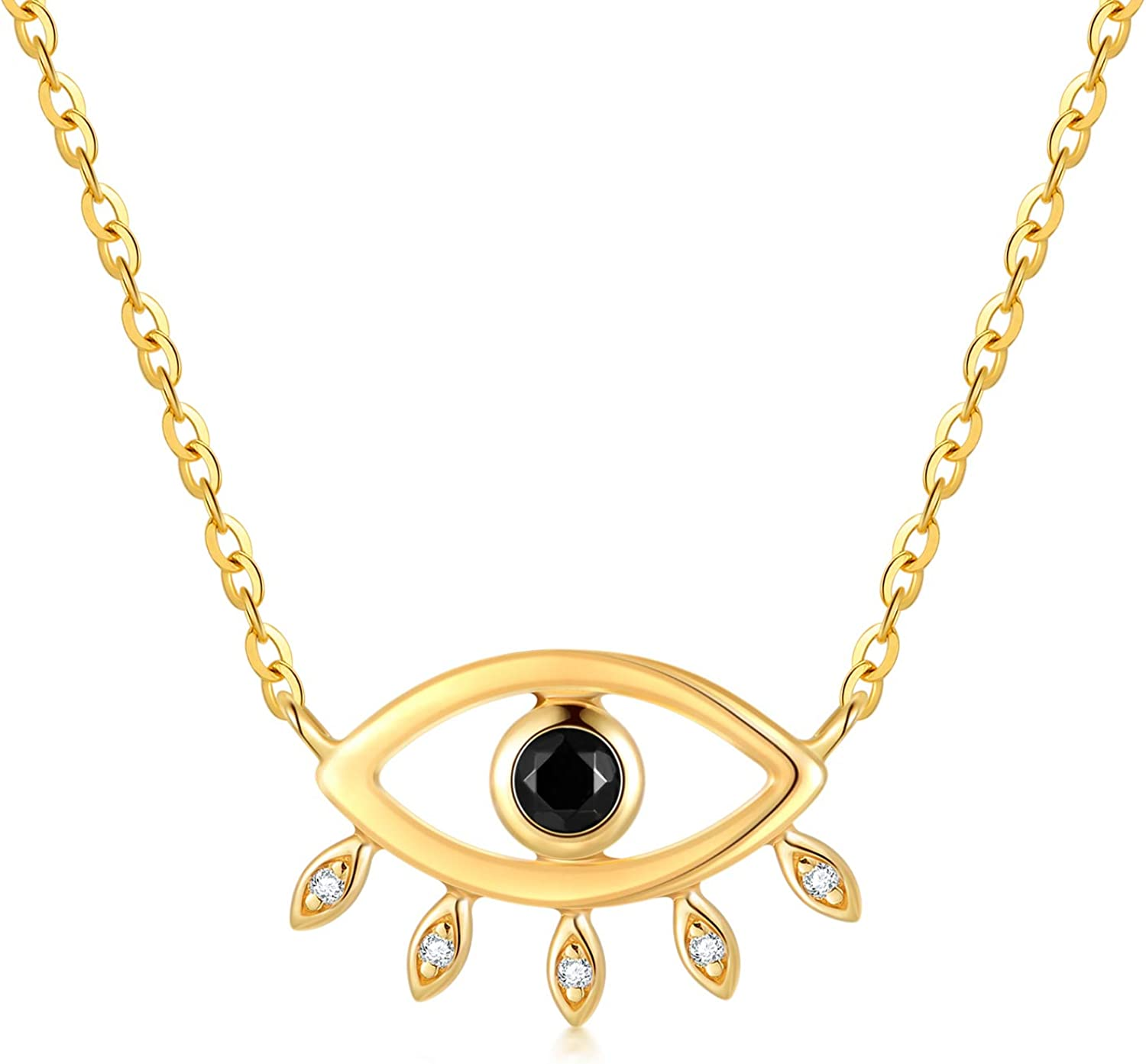 14k Gold Evil Eye Pendant Necklace for Women, Real Gold Choker Necklace Jewelry Gifts for Her, 14+2+1+1 Inch