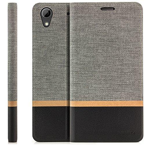 zanasta Tasche kompatibel mit HTC Desire 626G Hülle Flip Case Schutzhülle Handytasche mit Kartenfach Grau