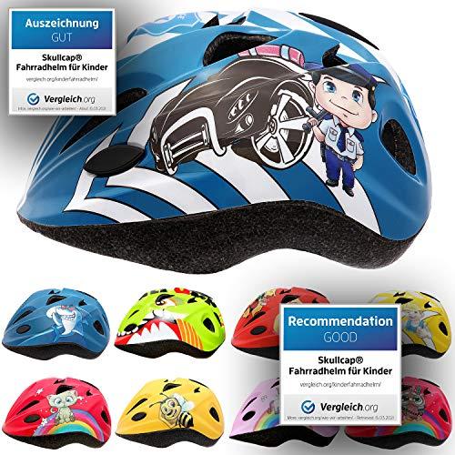 Skullcap® Fahrradhelm für Kinder Kinder-Helm für City-Roller, Longboard, Scooter - Blauer Helm für Inliner, Schlittschuh/Rollschuh von Kindern gestaltet - von Profis gebaut, Polizist/Polizei-Auto